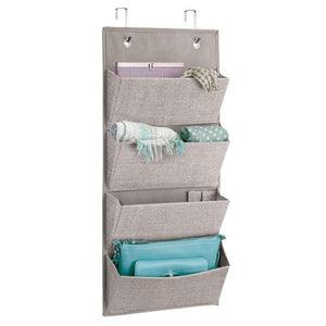 Discover idesign interdesign wall mount over door fabric closet storage clutch purses handbags scarves linen aldo hanging 4 pocket organizer