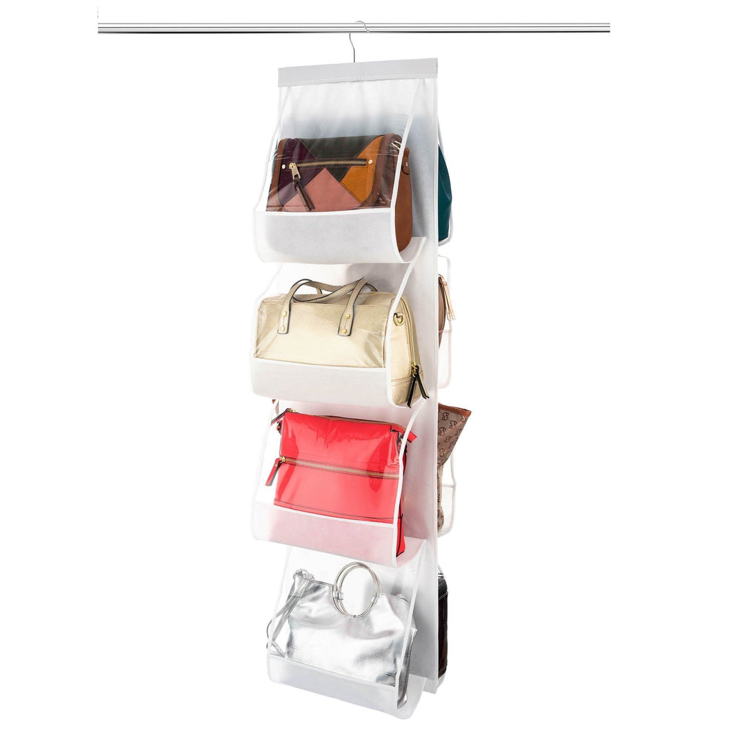 ZOBER Hanging Purse Organizer, Breathable Nonwoven Handbag Organizer, 8 Easy Access Clear Vinyl Pockets, White, 48 L x 12 W