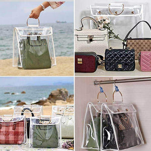 Get foonee transparent dust proof handbag organizer with magnetic snap handle clear purse protector holder storage bag for women girls