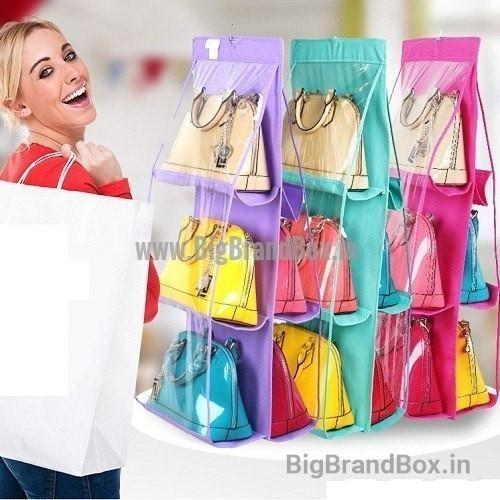 6 Pocket Hanging Closet Purse Organizer