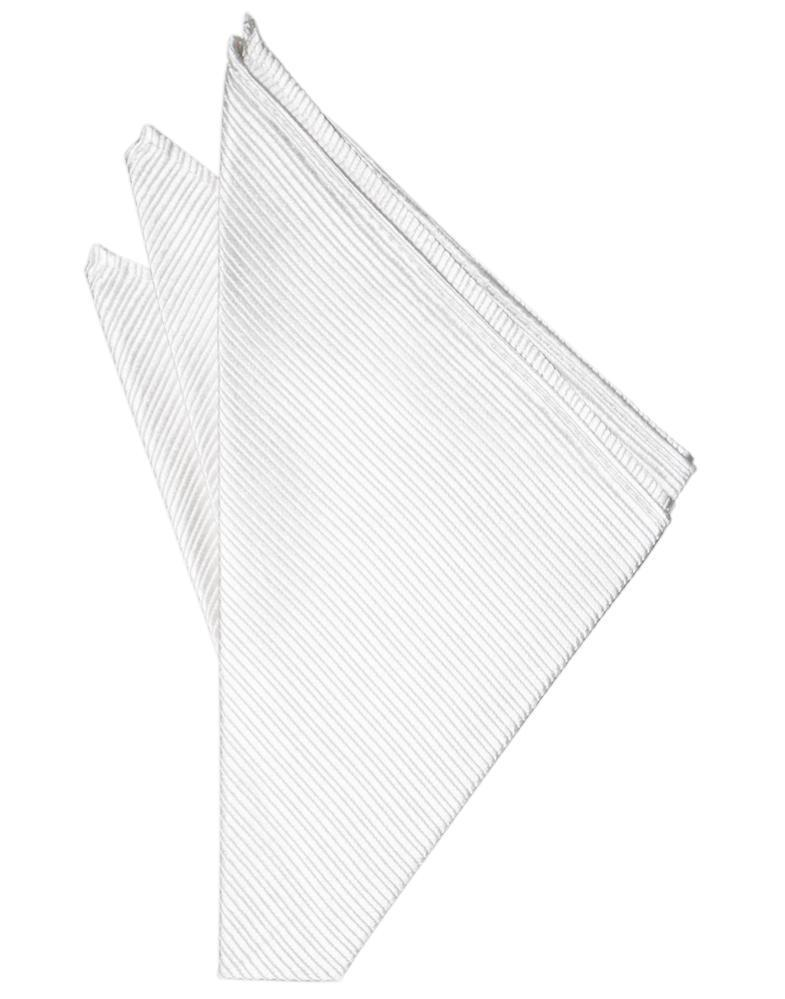 White Faille Silk Pocket Square