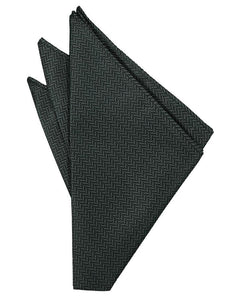 Asphalt Herringbone Pocket Square