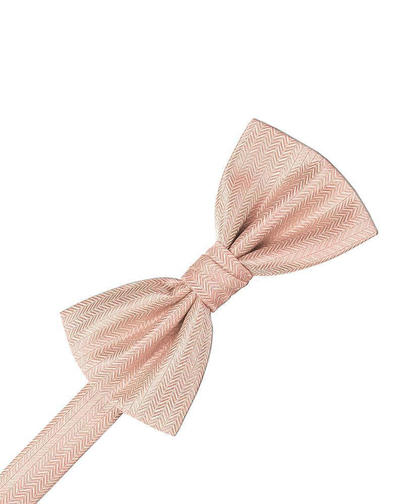 Peach Herringbone Bow Tie