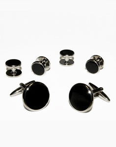 Black Circular Enamel in Silver Setting Studs & Cufflinks Set