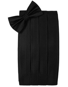 Black Silk Weave Cummerbund & Bow Tie Set