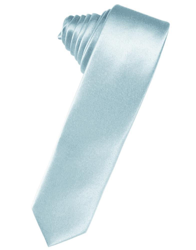 Light Blue Luxury Satin Skinny Necktie