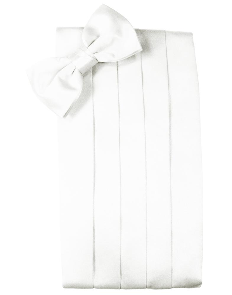 White Noble Silk Cummerbund & Bow Tie Set