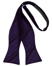Load image into Gallery viewer, Amethyst Striped Satin Bow Tie