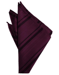 Berry Striped Satin Pocket Square