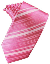 Load image into Gallery viewer, Bubblegum Striped Satin Necktie
