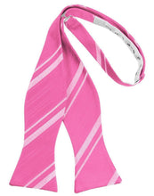 Load image into Gallery viewer, Bubblegum Striped Satin Bow Tie
