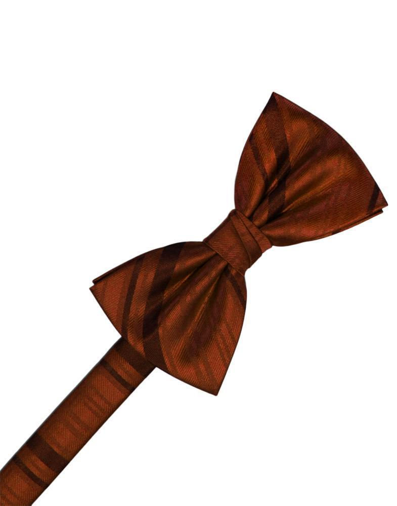 Cognac Striped Satin Bow Tie