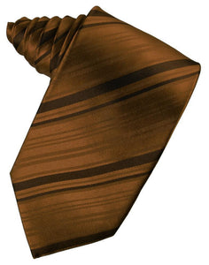Cognac Striped Satin Necktie