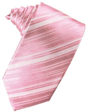 Load image into Gallery viewer, Coral Striped Satin Necktie