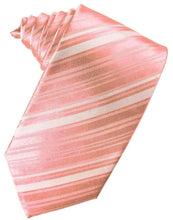 Load image into Gallery viewer, Coral Reef Striped Satin Necktie