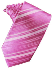 Load image into Gallery viewer, Fuchsia Striped Satin Necktie