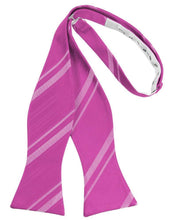 Load image into Gallery viewer, Fuchsia Striped Satin Bow Tie