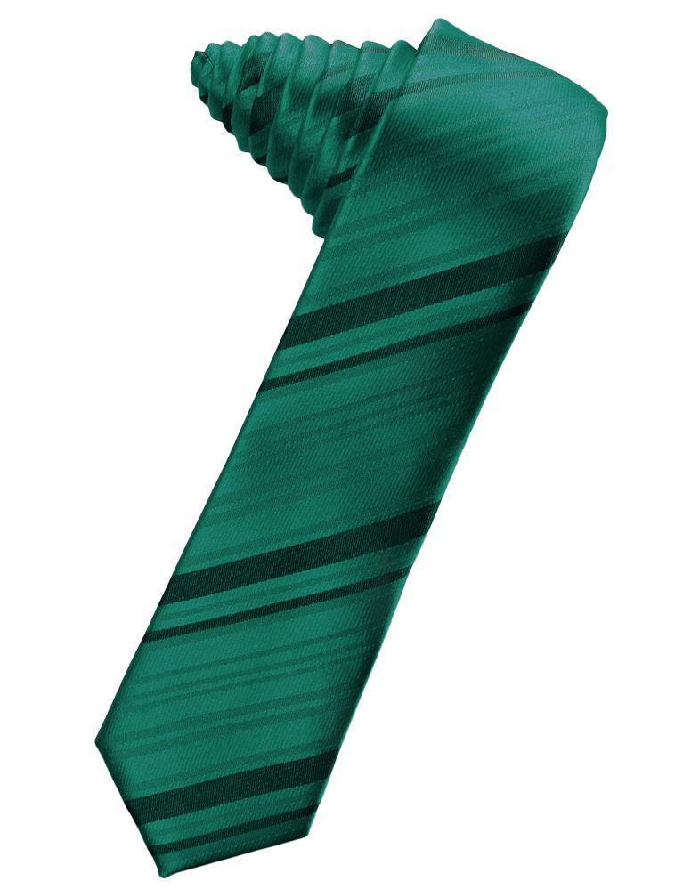 Jade Striped Satin Skinny Necktie