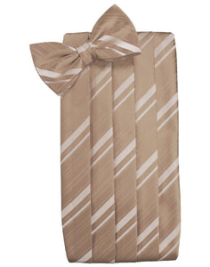 Latte Striped Satin Cummerbund