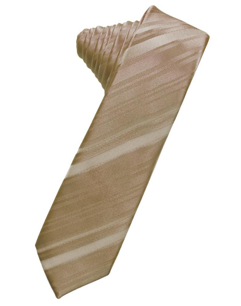 Latte Striped Satin Skinny Necktie