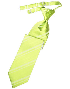 Lime Striped Satin Necktie