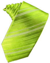 Load image into Gallery viewer, Lime Striped Satin Necktie