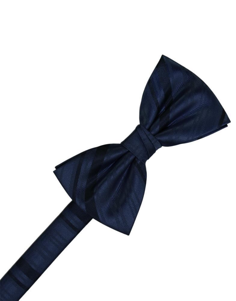 Midnight Striped Satin Bow Tie