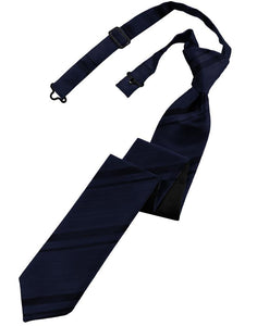 Midnight Blue Striped Satin Skinny Necktie