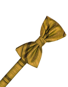 New Gold Striped Satin Bow Tie