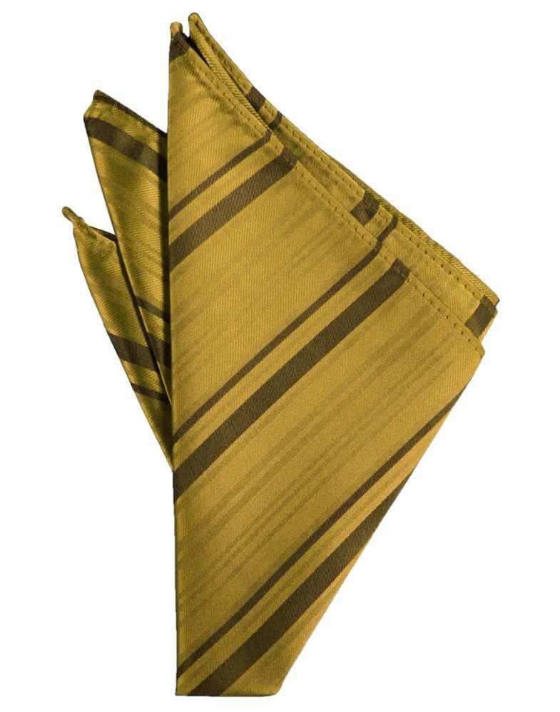 New Gold Striped Satin Pocket Square