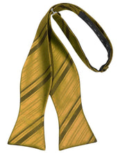 Load image into Gallery viewer, New Gold Striped Satin Bow Tie