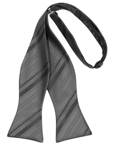 Pewter Striped Satin Bow Tie