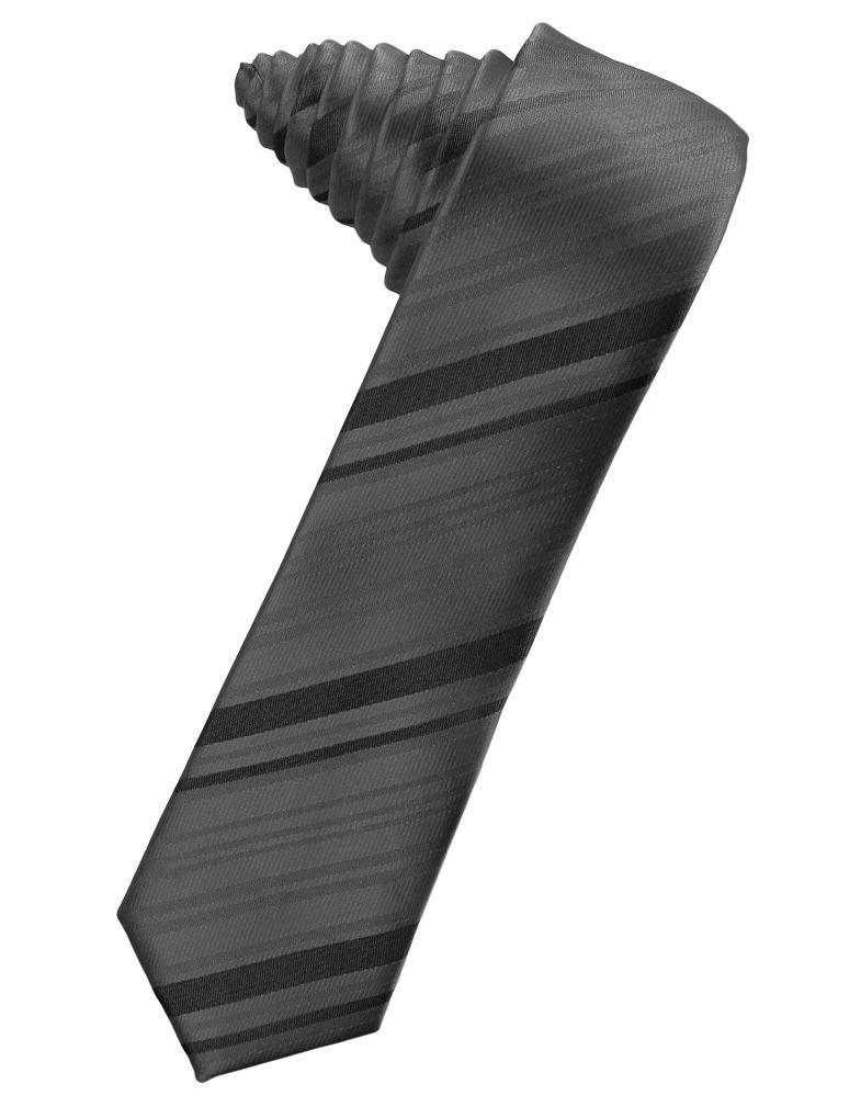 Pewter Striped Satin Skinny Necktie