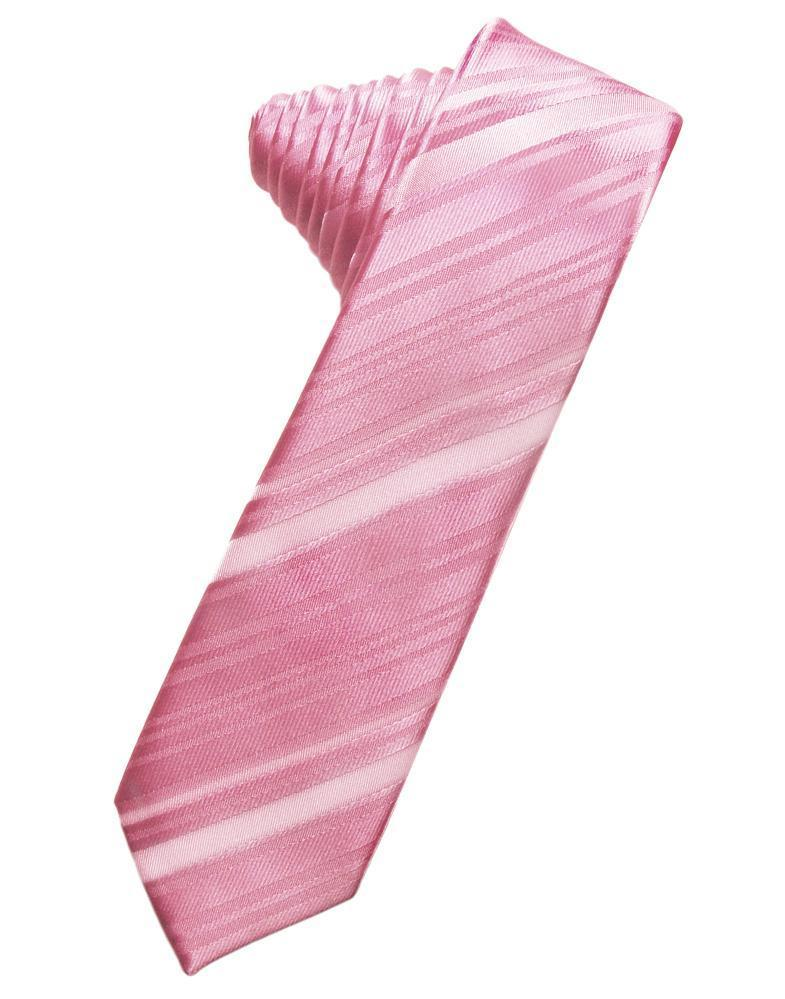 Rose Petal Striped Satin Skinny Necktie