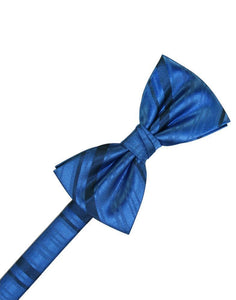 Royal Blue Striped Satin Bow Tie