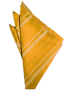 Tangerine Striped Satin Pocket Square