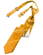 Load image into Gallery viewer, Tangerine Striped Satin Skinny Necktie