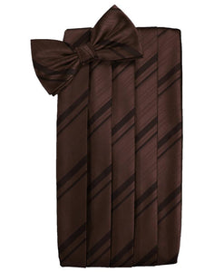 Truffle Striped Satin Cummerbund