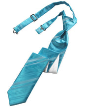 Load image into Gallery viewer, Turquoise Striped Satin Skinny Necktie
