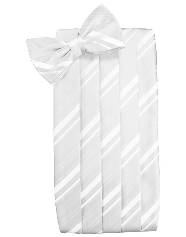 White Striped Satin Cummerbund