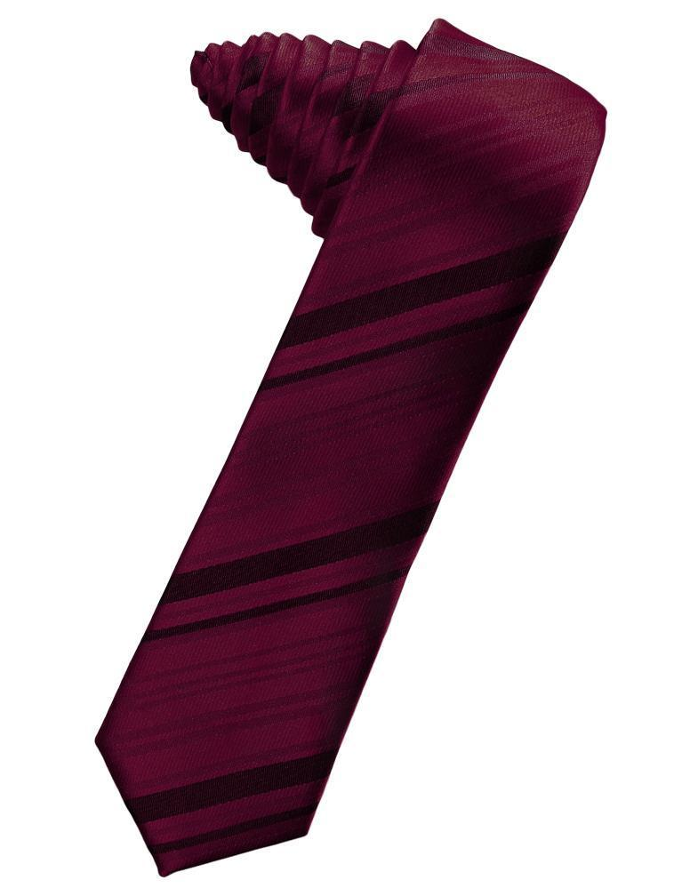 Wine Striped Satin Skinny Necktie