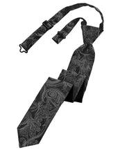 Load image into Gallery viewer, Charcoal Tapestry Skinny Necktie