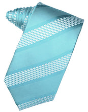 Load image into Gallery viewer, Turquoise Venetian Stripe Necktie