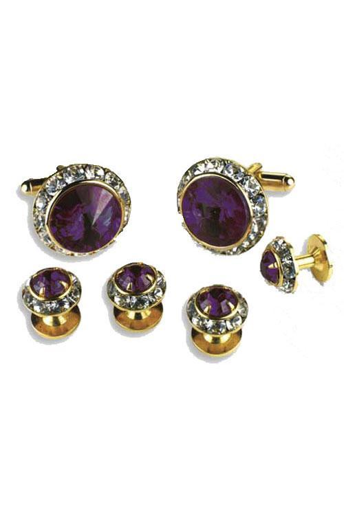 Amethyst Crystal Rhinestones Border Studs and Cufflinks Set