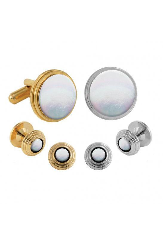 Mother of Pearl Beehive Studs and Cufflinks Set