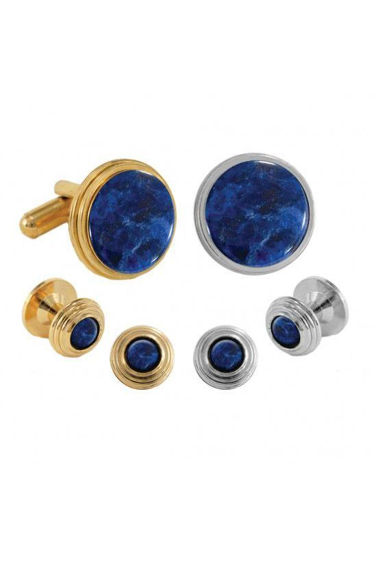 Sodalite Beehive Studs and Cufflinks Set