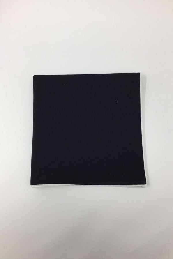 Black Cotton with White Border Pocket Square