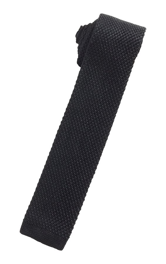 Black Silk Knit Necktie