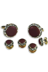 Burgundy Enamel Rhinestones Border Studs and Cufflinks Set