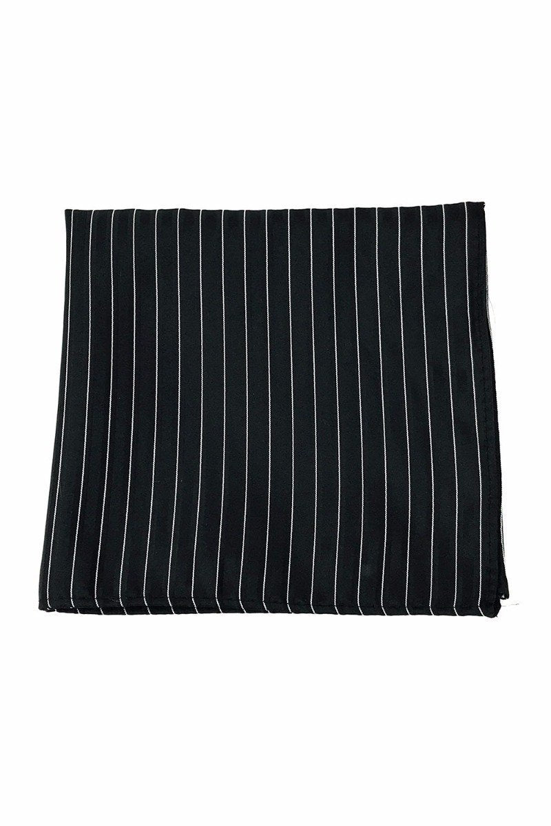 Black Newton Stripe Pocket Square